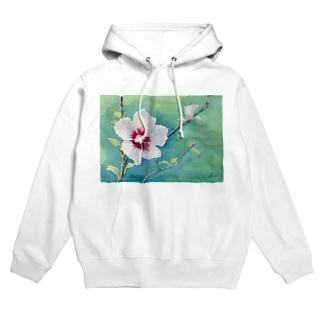 ムクゲ:透明水彩でお花の絵 Hoodies