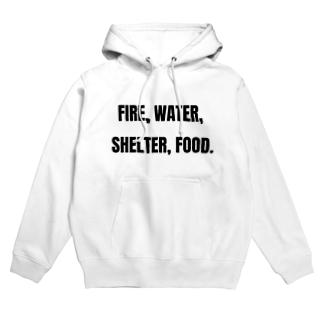 貴重なタンパク源のFire, water, shelter, food.(貴重なタンパク源) Hoodies