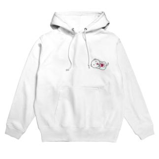 薄いカラー用ホワイトフェレットフロント&バックプリント Hoodies