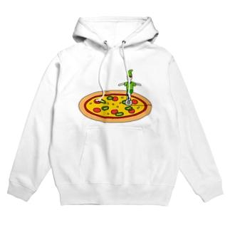 ピザを切る小人 Hoodies