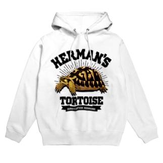 ヘルマンさんカレッジロゴ文字黒 Hoodies