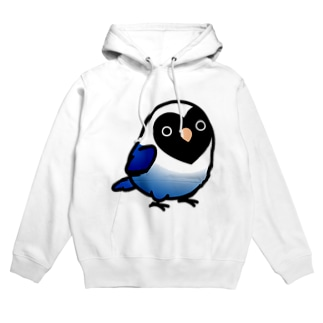 【両面】Chubby Bird(背面)ラブバード大集合 (コザクラインコ&ボタンインコ)(表)ブルーボタンインコ   フーディ