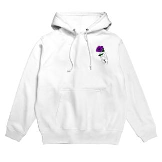 アネモネ紫ー淡色ベース用ー Hoodies