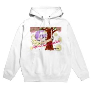 Ang22 エンジェルと桜の木 Hoodies