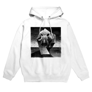 Monochrome rhino Hoodies