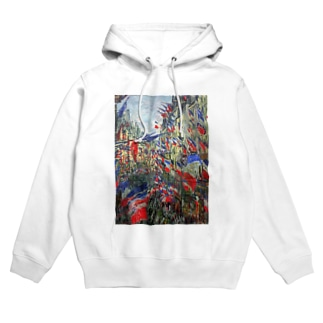 クロード・モネ / The Rue Montargueil with Flags Hoodies