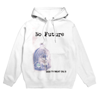 GOD TV MEAT OIL'S brand SUZURI内空中店舗のNo  Future-スカル×鳥かご Hoodies