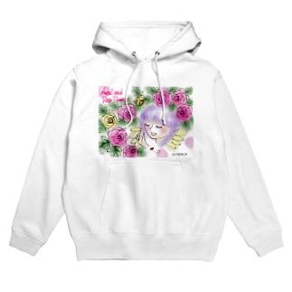 Ang27エンジェルと薔薇の花 Hoodies