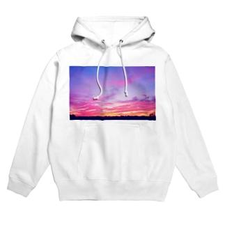 Pink Sunset sky Hoodies