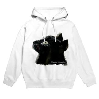 黒猫の横顔 Hoodies