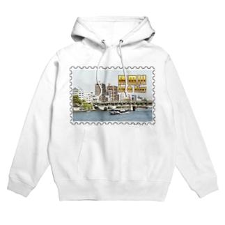 東京都:隅田川と水上バス★白地の製品だけご利用ください!! Tokyo: Sumida river & water bus★Recommend for white base product only !! Hoodies
