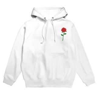 一輪の赤いバラ Hoodies