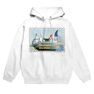 フランス海軍:ヘリ空母ジャンヌ・ダルク★白地の製品だけご利用ください!! French Navy: Jeanne d'Arc (porte-hélicoptères)★Recommend for white base products only !! Hoodies