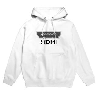ドットHDMI 黒 Hoodies