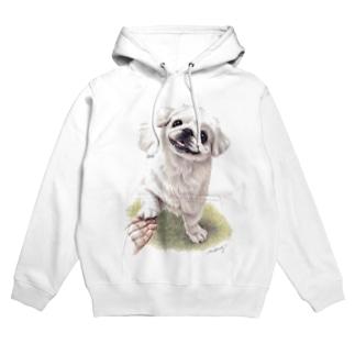 Momojiの犬画のペキニーズ1 Hoodies