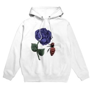 薔薇と蜂 青 Hoodies