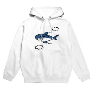 空飛ぶサメ Hoodies