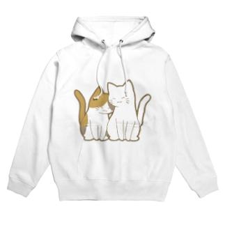 仲良し猫 三毛&白 Hoodies