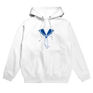 illust_designs_labのセーラー服 青 Hoodies