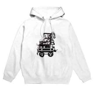 ろう飼い主のモノクロ荷車1 Hoodies