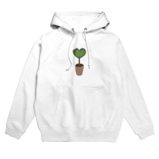 ハート♥グリーンの植木鉢 Hoodies