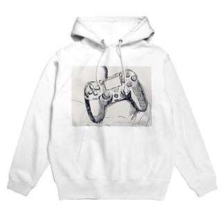 PS4 コントローラー デッサン Hoodies