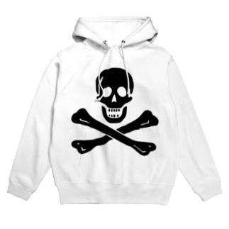 海賊旗スカル-Jolly Roger サミュエル・ベラミーの海賊旗-黒ロゴ Hoodies