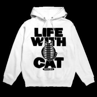 SHOP W SUZURI店のLIFE WITH a CAT フーディ Hoodies