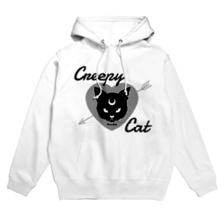 【MOON SIDE】 Creepy Cat #Black Ver.1 Hoodies