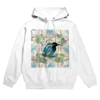 アール・ヌーヴォー風装飾と美しいカワセミのイラスト Hoodies