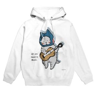 ギターねこ Hoodies