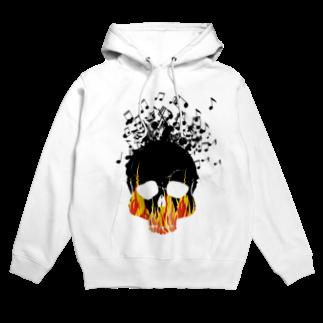 chicodeza by suzuriの音符とドクロと炎のTシャツ Hoodies