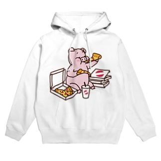 ピザを食べるブタ(カラー) Hoodies