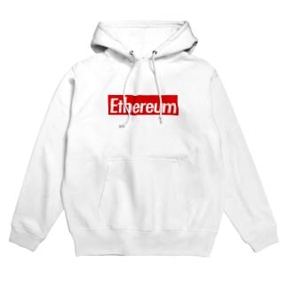 Ethereum ストリート定番の赤に白抜き Hoodies