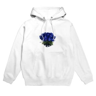 青い薔薇の花言葉「夢叶う、奇跡」祝福をお届け! Hoodies