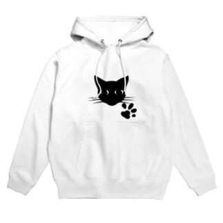 黒猫 Hoodies