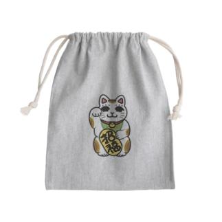 招き猫のフクさん巾着袋 Kinchaku