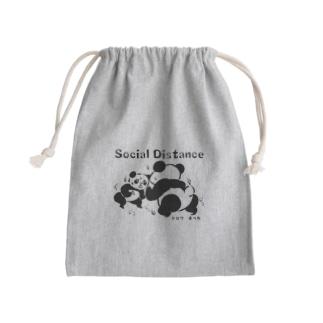 social distance 距離をとろう Mini Drawstring Bag