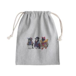 立てば芍薬、座れば牡丹、歩く姿は百合の花-Pygoscelis Kimono Penguins- Kinchaku