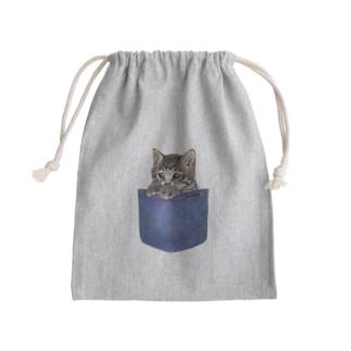 デニムポケットからひょっこり子猫ちゃん Kinchaku