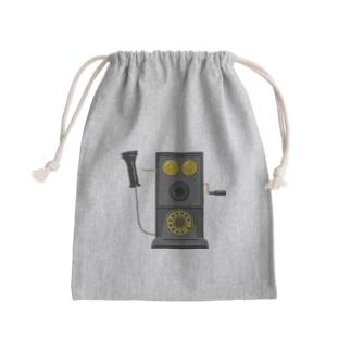 レトロな片耳受話器の片耳受話器の壁掛け電話(デルビル磁石式電話機)のイラスト  黒 受話器外しver Kinchaku