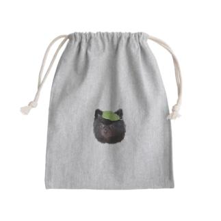 黒いポメラニアンのポメ 変化! Mini Drawstring Bag