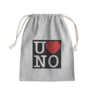 I LOVE UNO(白文字) Kinchaku