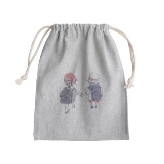 オリジナル 手を繋いで歩く幼い二人の女の子 Kinchaku