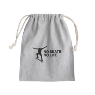 NO SKATE NO LIFE 黒ロゴ Kinchaku
