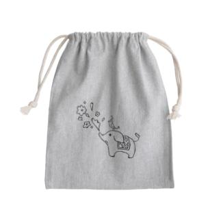 ゾウさんとお花 Mini Drawstring Bag