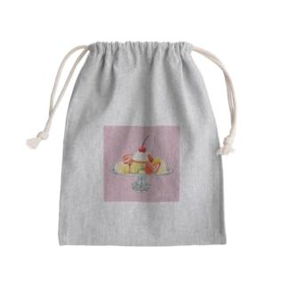プリンアラモード(pink) Mini Drawstring Bag