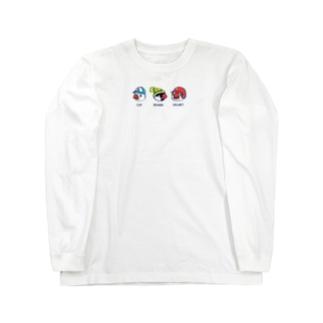 文鳥お帽子デザイン Long sleeve T-shirts