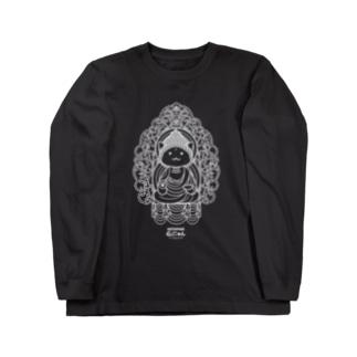仏にゃん(白線) ロングスリーブTシャツ