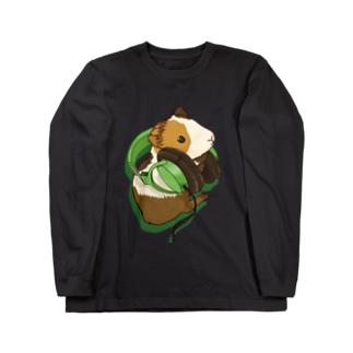 ヘッドフォンモルモットグリーン ロングスリーブTシャツ